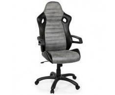 Sedia Gaming per ufficio DAKAR VINTAGE II, design sportivo, omologata per 8 ore e rivestita in pelle invecchiata, in nero/grigio