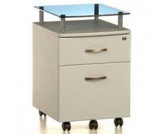 Cassettiera per ufficio EKON PLUS, con ruote, in legno color grigio con superficie in vetro