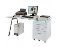 Scrivania per computer START UP, vetro temperato, cassettiera con tre scomparti, in bianco-grigio