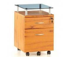 Cassettiera per ufficio EKON PLUS, con ruote, in legno color teak con superficie in vetro
