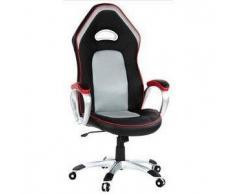 Sedia Gaming per ufficio COOPER 20, design sportivo con rivestimento in Similpelle colore nero, rosso e grigio