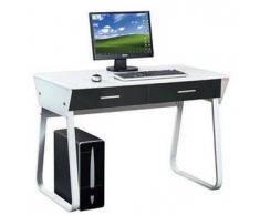 Scrivania di design per PC modello MIRA, con 2 ampi cassetti, cm 75,5x110x55, bianco