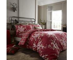 Catherine Lansfield Canterbury Check Set di Copripiumino 220x240x1 cm Rosso