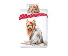 Unbekannt Faro Yorkshire cucciolo di cane best friends set letto, Copripiumino 160X 200letto singolo 100% cotone Biancheria da letto, più colori, 200x 160cm