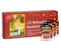 Idena 10112553b, candele led per albero di Natale, Set di 10, senza cavi, circa 9 cm incluso telecomando e batterie alcaline Energizer Premium, plastica,, avorio, 1.5 x 1.5 x 9 cm