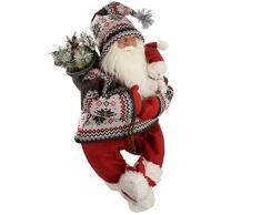 WeRChristmas - Decorazione natalizia a forma di Babbo Natale con sacco dei regali e vestito ricamato, 60 cm, colore: rosso/verde