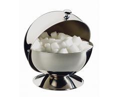 APS Zuccheriera con coperchio rotante, in acciaio inox, color argento, 9 x 12 x 16 cm