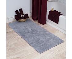 Lavish Home 100% Cotone Reversibile Lungo Tappeto da Bagno, Silver, 24 x 60
