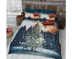 Just Contempo - Set copripiumino natalizio con stampe di animali, in poliestere e cotone, Blue Lights, Doppio