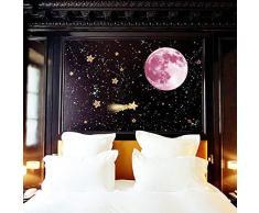 WALPLUS Luna, Fluorescente al Buio, Removibili Adesivi da Parete autoadesivi, Rosa, 30 x 30 cm