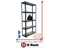 150 cm x 75 cm x 30 cm, blu a 5 ripiani (175KG per ripiano), capacità 875 kg garage bagagli scaffali, 5 anno di garanzia