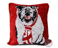 Just Contempo - Federa per cuscino quadrato, a tema Union Jack, 45 x 45 cm, colore: Bianco, blu e rosso, Poliestere, British Bulldog - rosso (scarlatto bordeaux), fodera per cuscino 45 x 45 cm