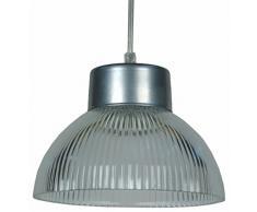 Tosel E1638 Lampada a sospensione Hollophane, Lamiera Acciaio Verniciatura Epossidica, Vetro Centrifugato, E27, 100 W, Alluminio
