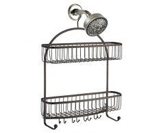 InterDesign York Lyra Mensola doccia da appendere | Scaffale doccia con 2 cestini, 10 ganci e unasta porta asciugamani | Mensola vasca da bagno antiruggine | Metallo bronzo