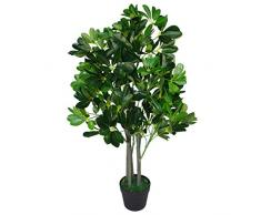 Leaf Design UK 95Â cm Ombrello Tree Dark Green-Extra Grande Evergreen ficus Artificiale pianta Vaso in plastica Nera, Arboricola