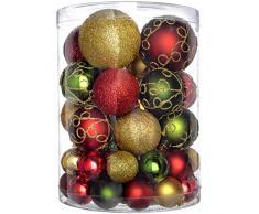 WeRChristmas Set di decorazioni natalizie, con 50 palline in plastica infrangibile rosso/oro/verde