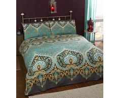Asha Emerald - Set copripiumino e 2 federe a design indiano, biancheria da letto, verde/azzurro.
