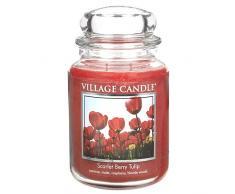 Village Candle Scarlet Berry Tulip Grande Vaso di Vetro, Vetro, Rosso, 10.3x10.1x17.7 cm