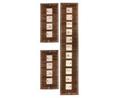 Andiamo 1100150 - Set di 3 tappeti Fiorina, 2 tappeti scendiletto da 67 x 140 cm, 1 tappeto fondo piedi da 67 x 340 cm, marrone