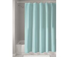 iDesign Tenda doccia, Tenda da doccia in poliestere con orlo rinforzato, Tenda per vasca da bagno lavabile con dimensioni di 180,0 cm x 200,0 cm, turchese