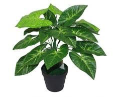 Leaf Design UK 45 Centimetri Artificiale Taro pianta in Vaso in plastica Nera Pot, Red & Green Leaves