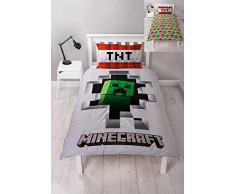 Character World Minecraft Dynamite - Copripiumino Singolo con Licenza Ufficiale, Reversibile, Design Creeper su Entrambi i Lati, con federe Coordinate, in Poliestere, Bianco, Verde, Rosso