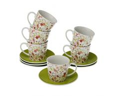 VERSA 20090212 Set 6 Tazze tè con Piatto Camille, Porcellana, Bianco, 14x9x14 cm