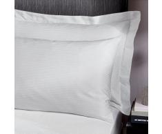 Catherine Lansfield Platinum - Federe con bordi, 300 fili, a righe satinate, 1 paio, colore: Bianco