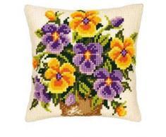 Vervaco, PN-0008547, Cuscino con Kit per Punto Croce, Motivo: Viola del Pensiero, Giallo/Blu (Multicolor/Yellow)