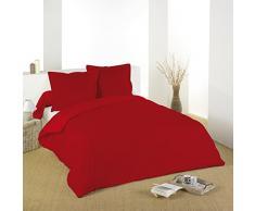 Lovely Casa HC34820008 Alicia - Biancheria da letto in cotone, conta fili 57, 240 x 220 cm, rosso