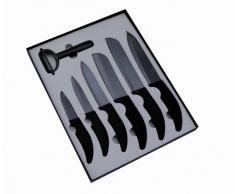 Pradel Excellence SC007 Confezione ceramica in confezione da vetrina: 6 coltelli da cucina / Lama ceramica / Nera + sbucciatore lama ceramica nera