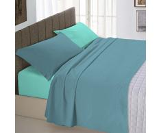 Italian Bed Linen Natural Color Completo Letto Double Face, 100% Cotone, Ottanio/Verde Acqua, Una Piazza e Mezza