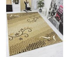 VIMODA vegas5154 tappeto dal design moderno con strass effetto nobile Elegant, alta qualità e di facile manutenzione, Gold / beige, 80 x 150 cm