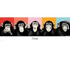 1art1 Scimmie - Chimpanzè Espressivi Poster per la Porta (158 x 53cm)