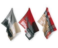 kela 390167, Set di Strofinacci, Motivo: Tazze, 3 pz, 100% Cotone, Multicolore (Bunt)