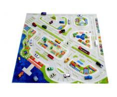 IVI NB/121MD034100100-IT Tappeto Ipoallergenico da Gioco in 3D per Bambini con Motivo Città Colorata, Multicolore, 100 x 100 cm