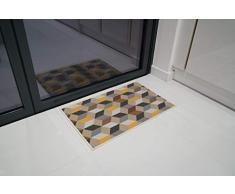 Serdim Rugs Gelback Tappeto Antiscivolo dal Design Geometrico per Cucina e corridoi Multiuso – tappetini, Oro, 50 x 80 cm(18 x 27)