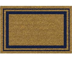 ID MAT 406005 - Zerbino con Cornice in Fibra di Cocco/PVC, Colore: Naturale/Blu, 60 x 40 x 1,5 cm