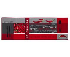 Andiamo tappeto da cucina Hot Pepper, 100% poliammide, rot, 120 x 67 x 0,5 cm