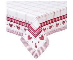 Clayre & Eef BOW15 Tovaglia Rosso/Bianco Cuore 100% Cotone Stile Rustico/Romantico 150 x 150 cm