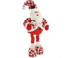 WeRChristmas - Decorazione natalizia da pavimento a forma di Babbo Natale, con gambe estensibili, 35 - 60 cm, fantasia abito: scozzese, colore: Rosso/Bianco