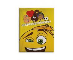 Emoji Plaid in Pile Licenza, Poliestere, Multicolore, 140Â x 110Â cm