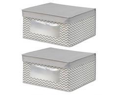 InterDesign Axis Organizer armadio, Scatola portaoggetti con coperchio media in polipropilene, Set da 2 scatole contenitori, grigio tortora/beige