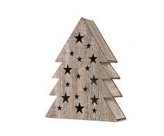 SnowEra Decorazione Natalizia in Legno 100% FSC / Addobbo Natalizio a Forma di Albero di Natale / Stella / Illuminazione con 10 LED e Batterie Incluse – Colore Luce: Bianco Caldo
