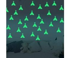 Fillplus Adesivi murali Piccola Tenda incandescente Adesivo murale Decalcomanie Arte Soggiorno Scuola Materna Ristorante Hotel Cafe Ufficio Decorazioni per la casa Decorazione, Multicolore