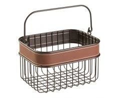 Interdesign 65151EU Laredo cestino portaoggetti, con manico, per cucina, in poliestere, colore: marrone, 23,622 17,145 14,98 x x cm