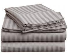 Superior - Set di lenzuola, 198 x 203 cm, a righe, a 400 fili, cotone, grigio, 4 pezzi