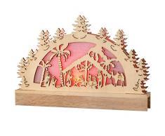 WeRChristmas 23 cm Pre-Lit Wooden Natività Sagoma/finestrino Tabella Decorazione di Natale Illuminato con luci del LED Che Cambia Colore