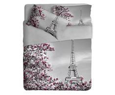 Ipersan Paris Parure Lenzuola Fotografico Fine Art, 100% Cotone, Grigio, Matrimoniale, 260x300x1 cm, 3 unità