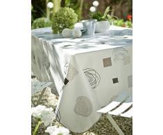 CALITEX Vrilissia Tovaglia in tela cerata rotonda, PVC bianco 180 x 180 cm